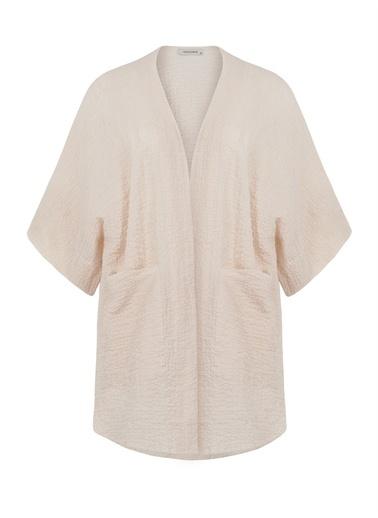 Nocturne Düşük Omuz Cepli Kimono Bej